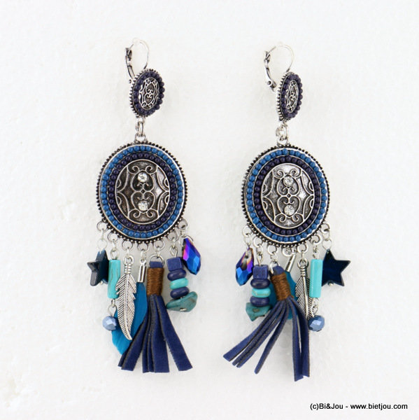 earrings 0316613-09 tassel 30x110mm metal-strass-crystal-acrylic-reconstituted stone-shell-suede-feather