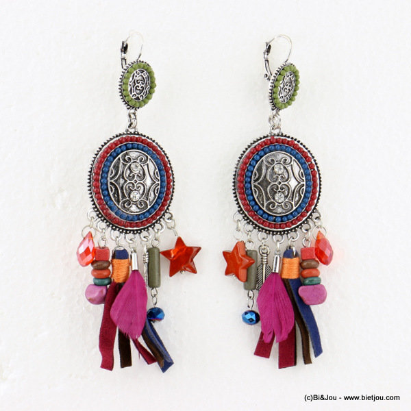 earrings 0316613-99 tassel 30x110mm metal-strass-crystal-acrylic-reconstituted stone-shell-suede-feather