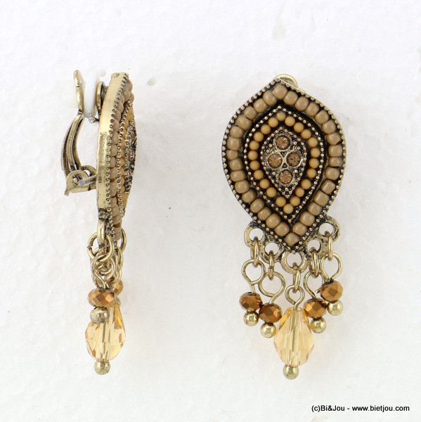 earrings 0316632-02 clip 17x43mm metal-crystal-seed beads-acrylic-strass