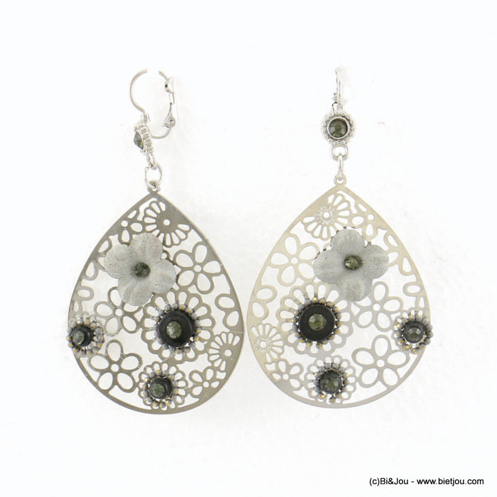 earrings 0317683-01 flower 40x78mm metal-synthetic-coco-strass