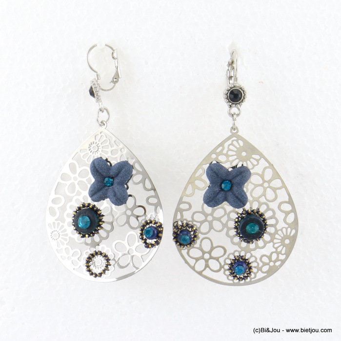 earrings 0317683-09 flower 40x78mm metal-synthetic-coco-strass