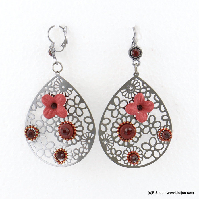 earrings 0317683-12 flower 40x78mm metal-synthetic-coco-strass