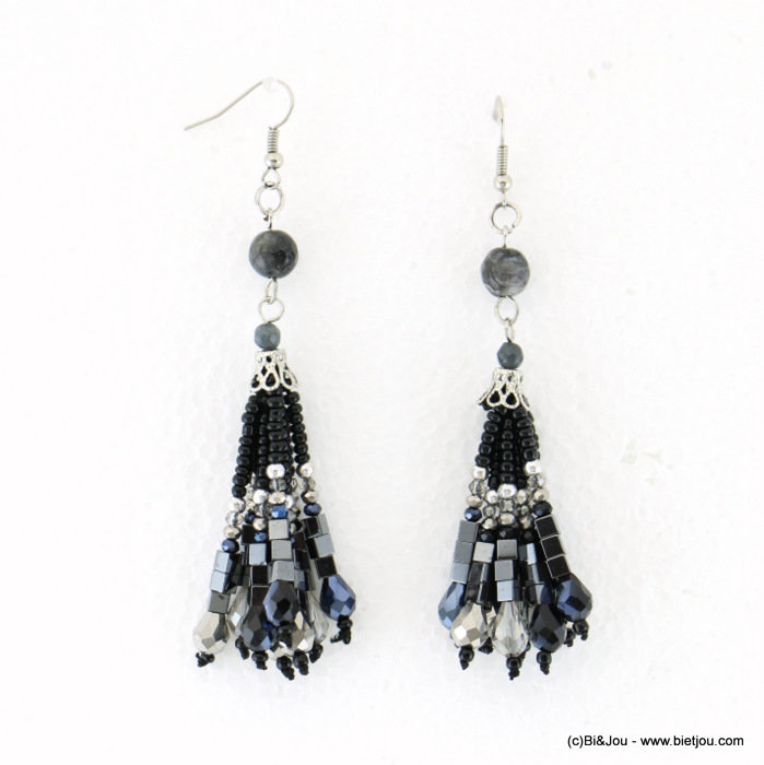 earrings 0317710-01 20x85mm crystal-metal-reconstituted stone-CCB