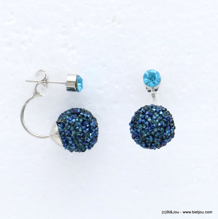 earrings 0317916-09 ear jacket metal-rhinestone nail clasp 9x25mm