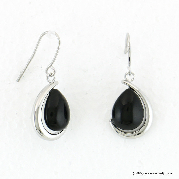 earrings 0317949-01 dangle black onyx stone fish hook 15x30mm metal