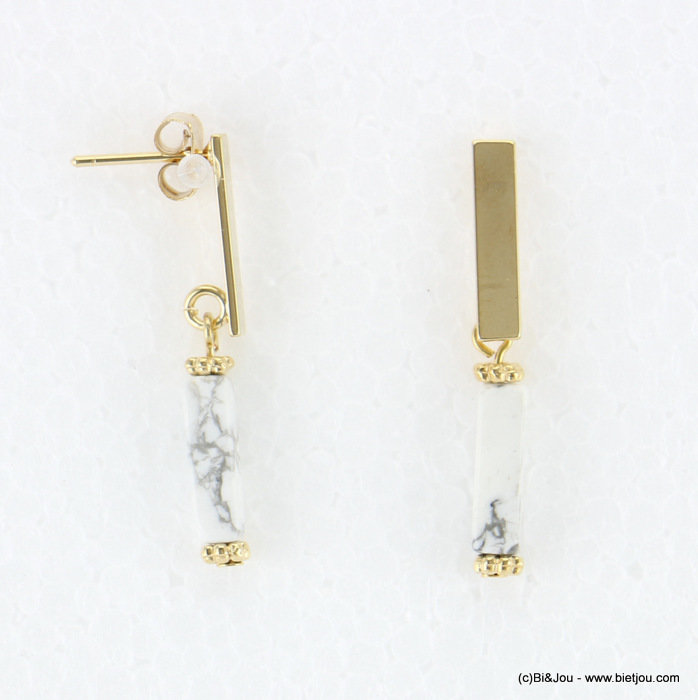 earrings 0318071-19 4x33mm metal-reconstituted stone