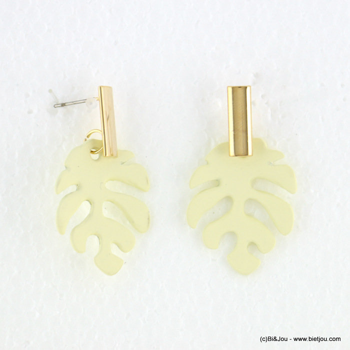 earrings 0318095-19 matte color 23X41mm leaf Monstera metal