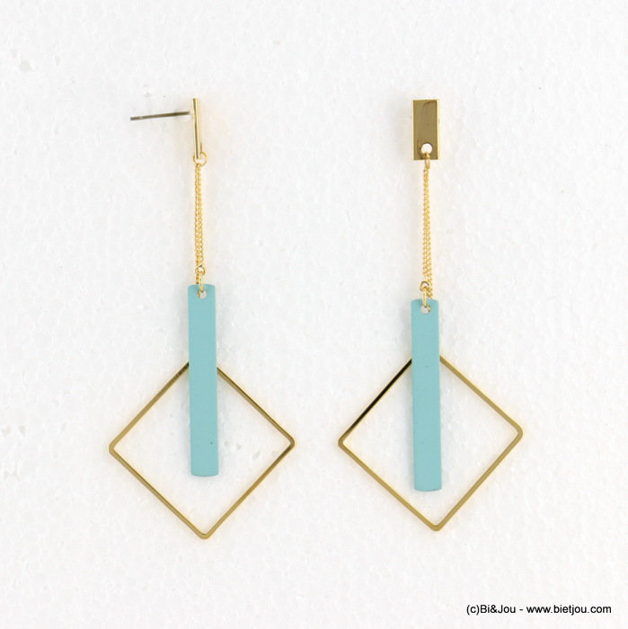 earrings 0318097-17 matte color 34X78mm metal