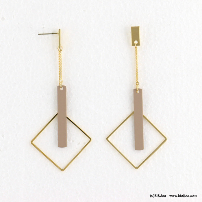 earrings 0318097-18 matte color 34X78mm metal