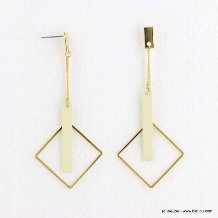 earrings 0318097-19 matte color 34X78mm metal