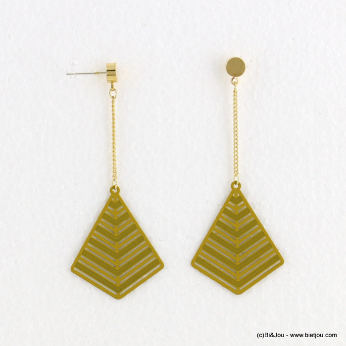 earrings 0318098-06 matte color 27X72mm metal