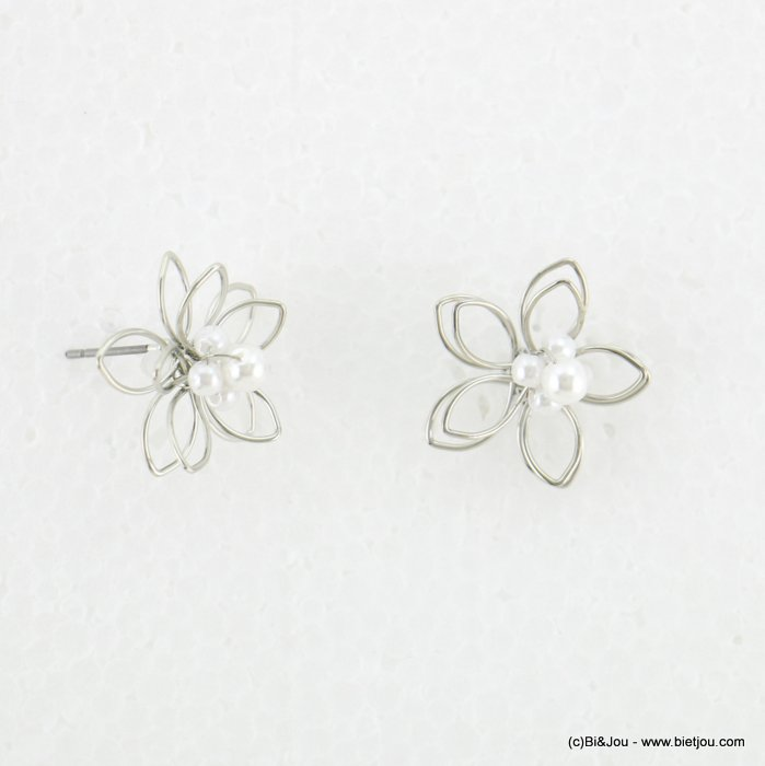 earrings 0318121-13 women metal flower faux-pearl nail clasp 20mm