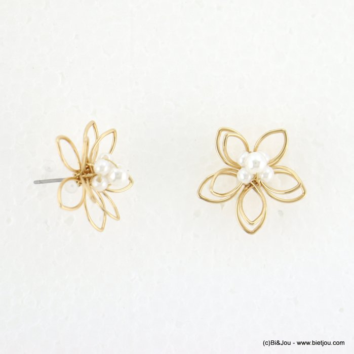 earrings 0318121-14 women metal flower faux-pearl nail clasp 20mm