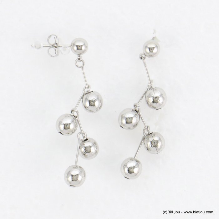 earrings 0318167-13 geometric ccb metallized resin balls nail clasp metal 15x40mm