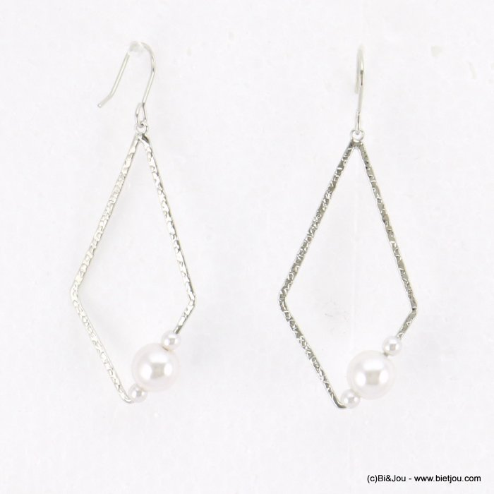 earrings 0318184-13 geometric faux-pearl beads fish hook clasp metal 20x60mm