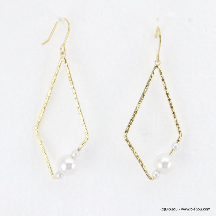 earrings 0318184-14 geometric faux-pearl beads fish hook clasp metal 20x60mm