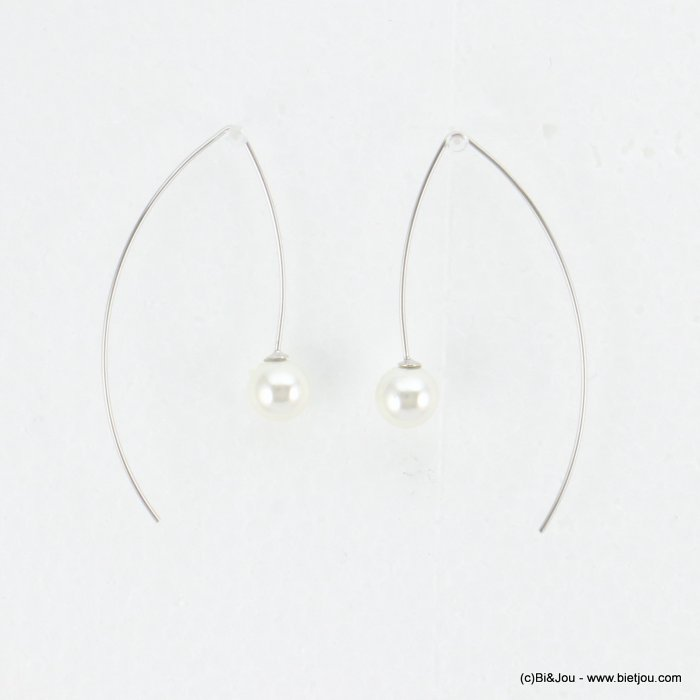 earrings 0318186-13 threader faux-pearl bead metal 25x50mm