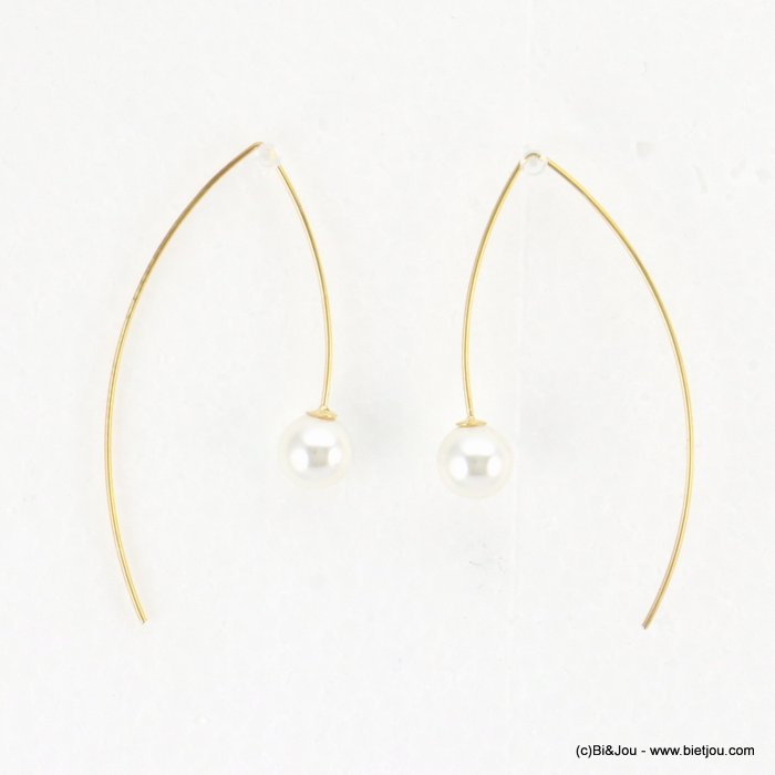 earrings 0318186-14 threader faux-pearl bead metal 25x50mm