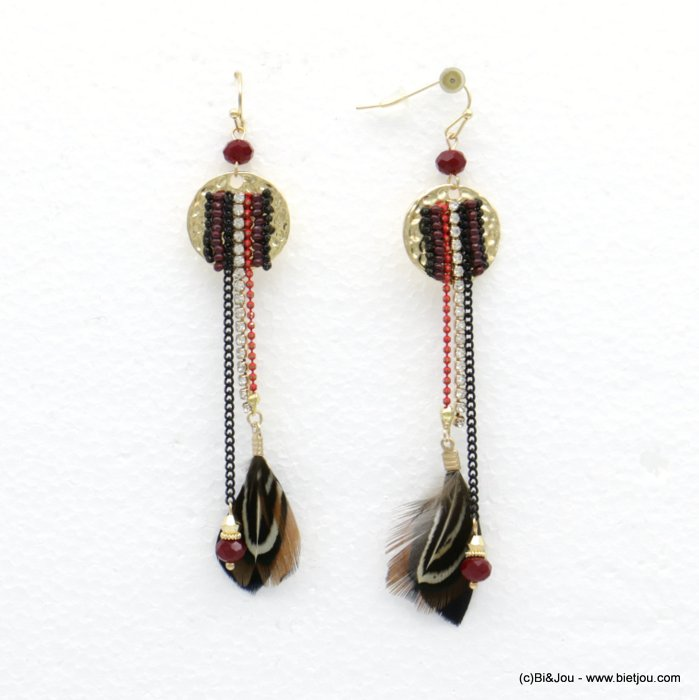 earrings 0318504-99 dangle bohemian style feather rhinestone beaten metal woman 90mm