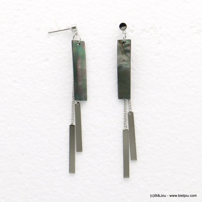 earrings 0318542-13 7x82mm metal-shell