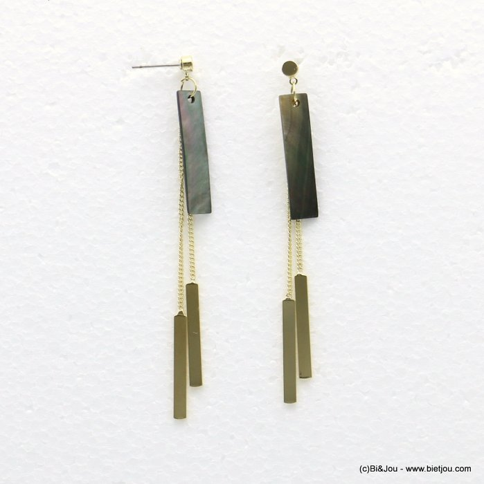 earrings 0318542-14 7x82mm metal-shell