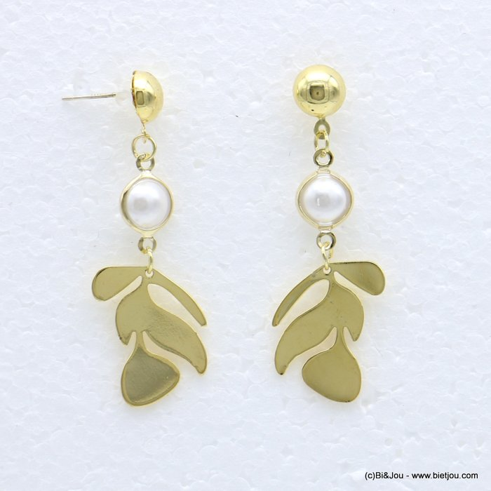 earrings 0318546-14 stylized leaf metal faux-pearl stud clasp 15x45mm