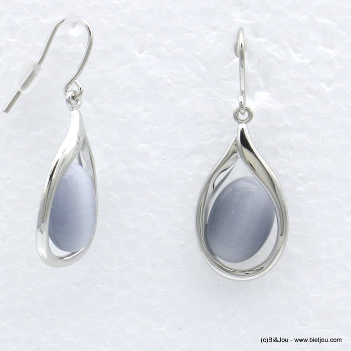 "earrings 0318550-25 dangle oval ""cat eyes"" cat tail fish hook clasp metal woman 40x20mm woman"