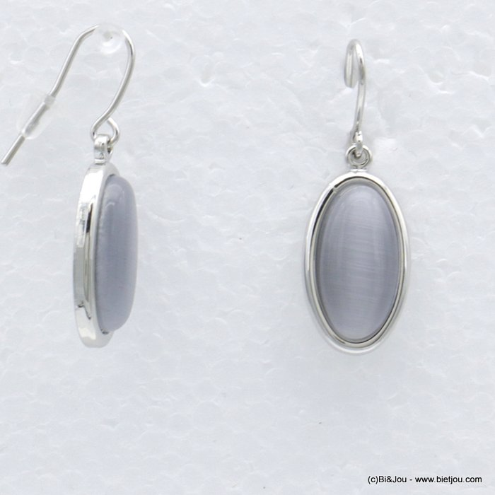 "earrings 0318554-25 dangle lay oval ""cat eyes"" fish hook clasp metal-glass woman 10x30mm"