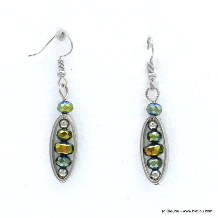 earrings 0318559-07 dangle coloured metal dot crystal fish hook clasp 10x50mm
