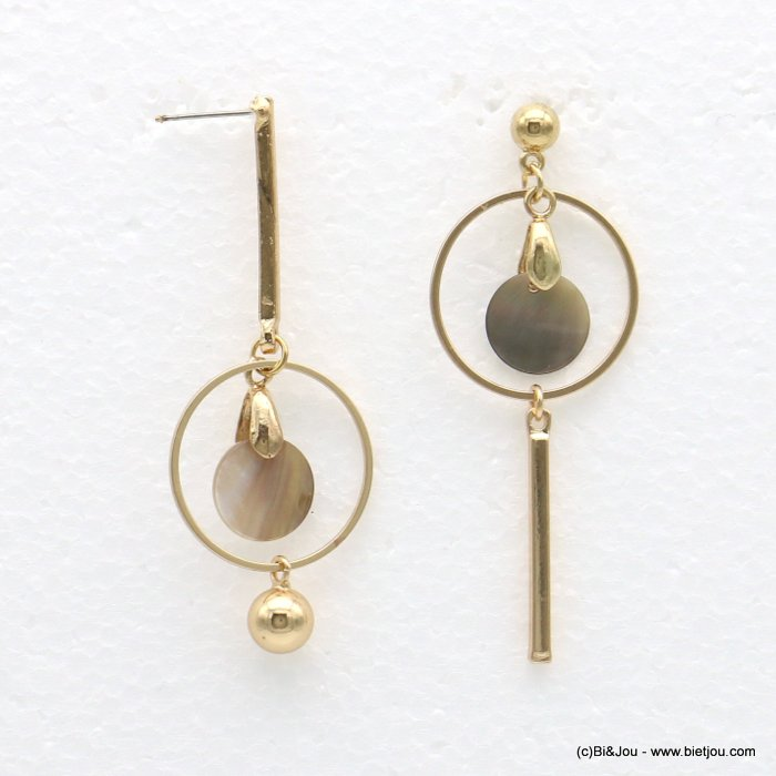 earrings 0318560-14 24x64mm metal-shell