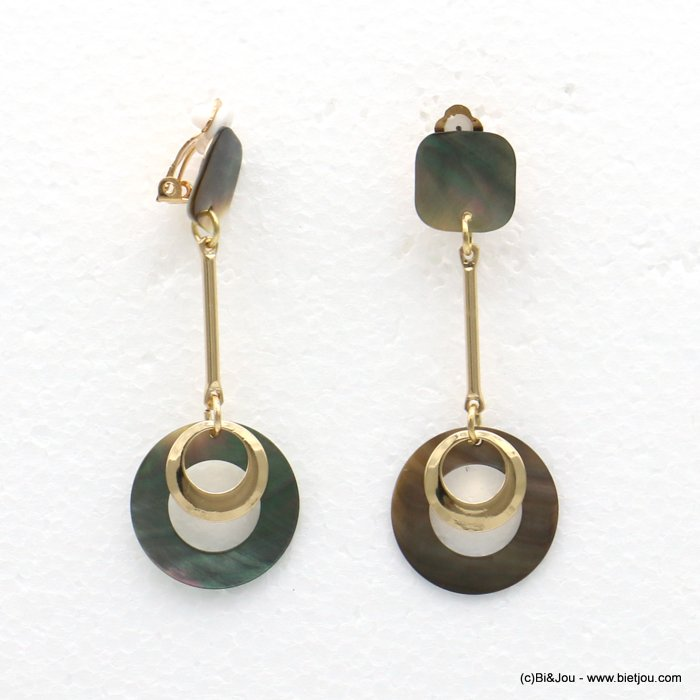 earrings 0318561-14 24x67mm metal-shell