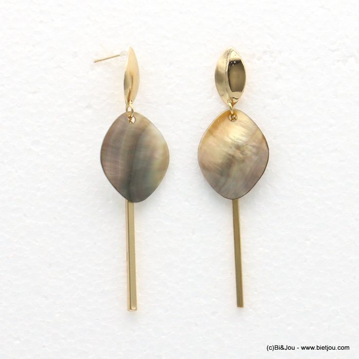 earrings 0318565-14 21x78mm metal-shell