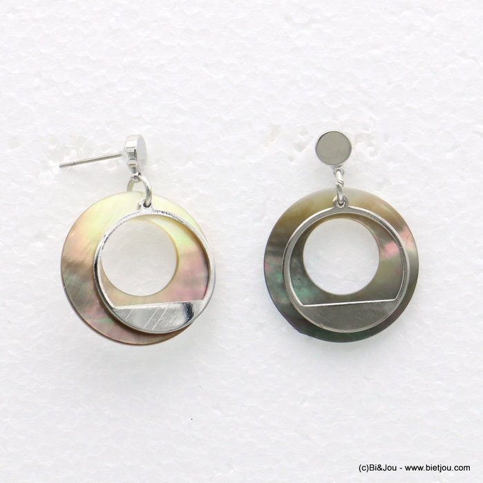 earrings 0318566-13 25x35mm metal-shell