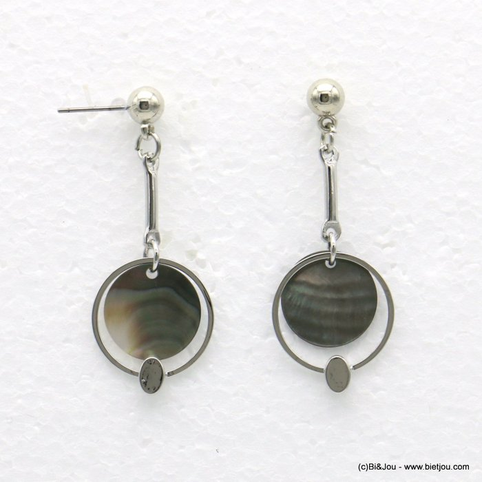 earrings 0318567-13 18x48mm metal-shell