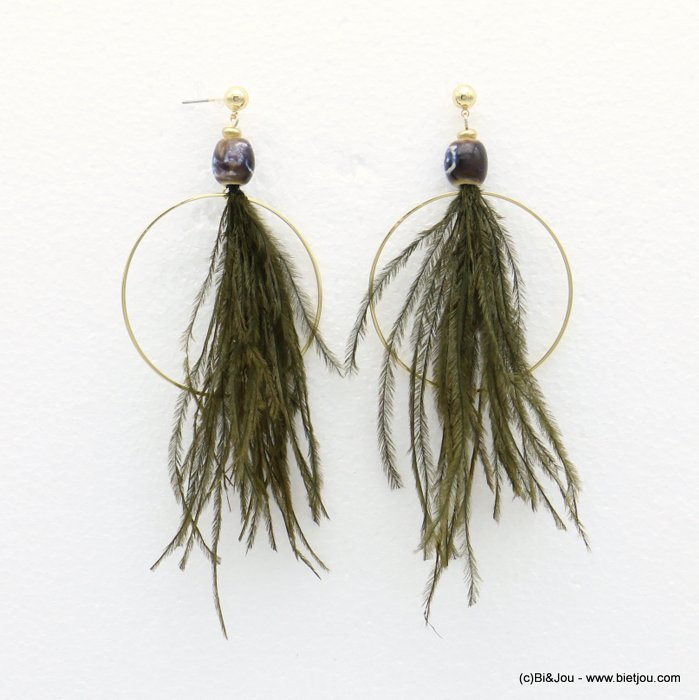 earrings 0318569-07 bohemian XXL oversize natural feather metal hoop ceram fish hook clasp 50x120mm