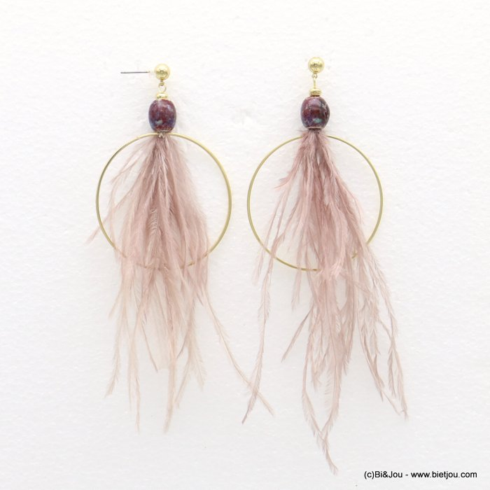 earrings 0318569-33 bohemian XXL oversize natural feather metal hoop ceram fish hook clasp 50x120mm