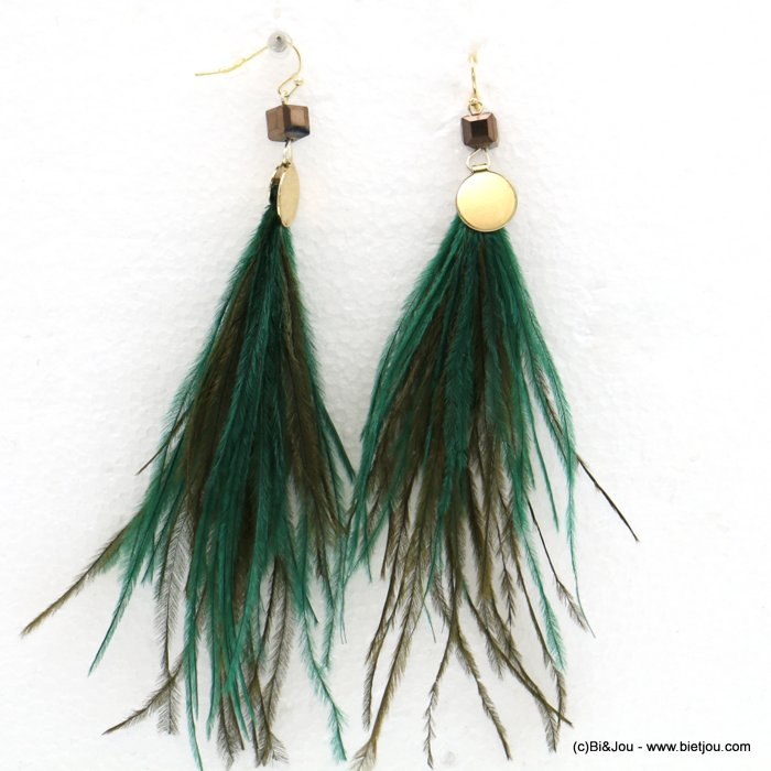 earrings 0318570-07 bohemian XXL oversize natural feather crystal fish hook clasp 5x15cm