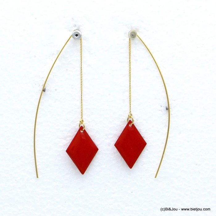 earrings 0318592-12 threader minimalist coloured enamel diamond shaped metal 15x60-75mm
