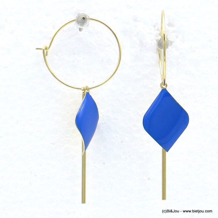 earrings 0318594-08 hoop minimalist buckled diamond shaped coloured enamel metal bar 25x65mm