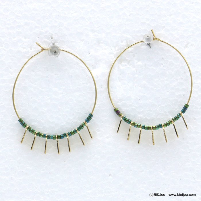 earrings 0318598-07 hoop minimalist metal seed beads 35mm