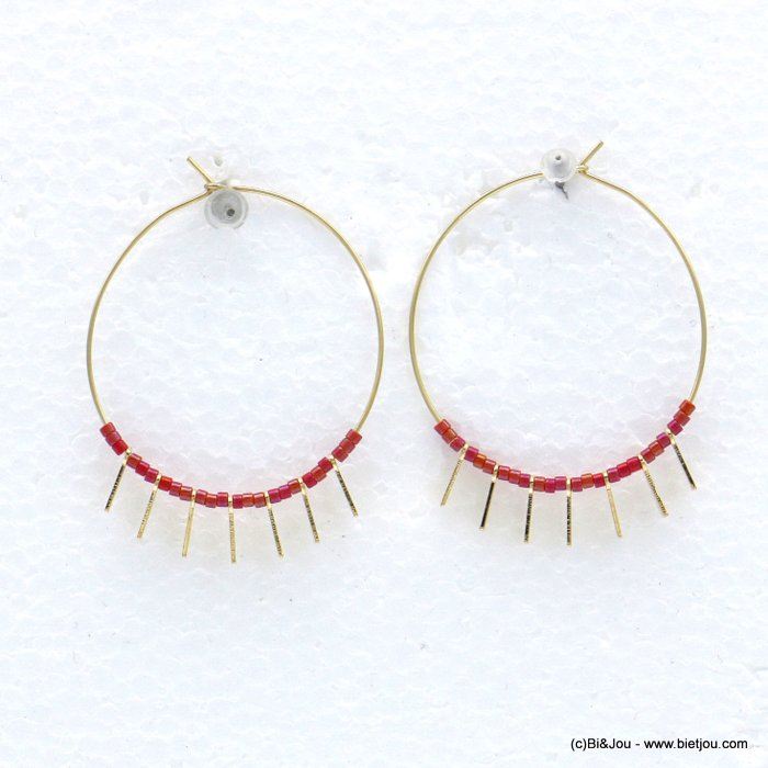 earrings 0318598-12 hoop minimalist metal seed beads 35mm