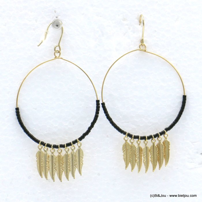 earrings 0318599-01 minimalist metal feather seed beads fish hook clasp 38x70mm