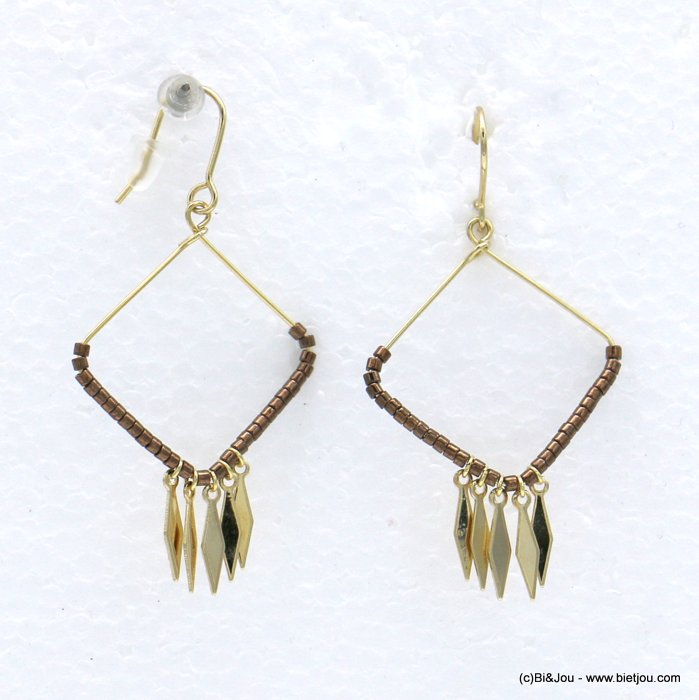 earrings 0318602-02 minimalist metal square diamond-shaped seed beads fish hook clasp 28x55mm
