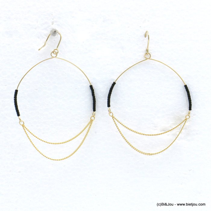 earrings 0318604-01 minimalist XXL oversize metal hoop seed beads fish hook clasp 50x75mm
