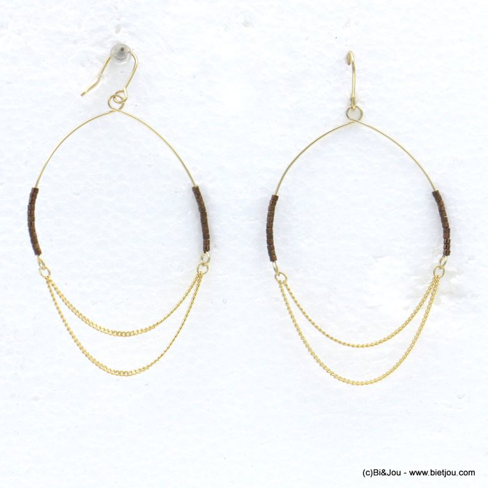 earrings 0318604-02 minimalist XXL oversize metal hoop seed beads fish hook clasp 50x75mm