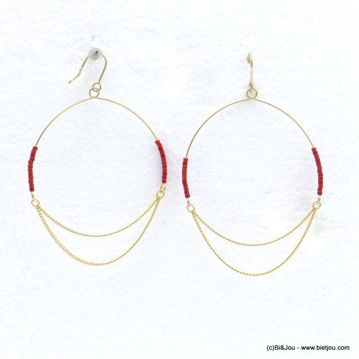 earrings 0318604-12 minimalist XXL oversize metal hoop seed beads fish hook clasp 50x75mm