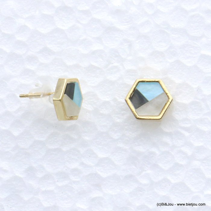 earrings 0318605-08 stud six-sided shape resin harlequin pattern 9mm