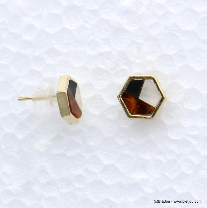 earrings 0318605-10 stud six-sided shape resin harlequin pattern 9mm