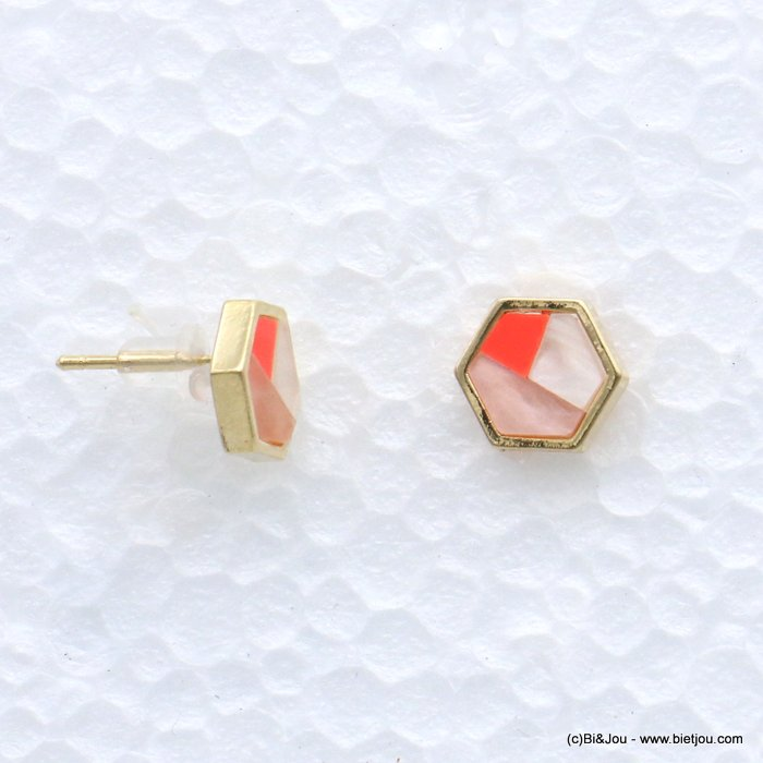 earrings 0318605-18 stud six-sided shape resin harlequin pattern 9mm