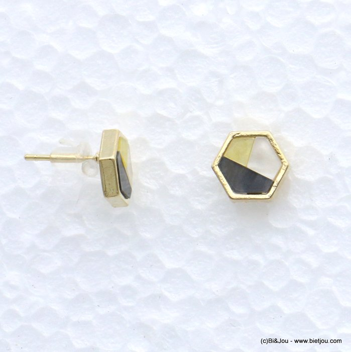 earrings 0318605-25 stud six-sided shape resin harlequin pattern 9mm